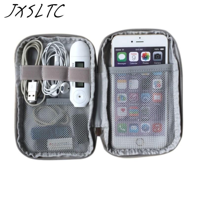 Bolsa de almacenamiento Kit de viaje Bolsa pequeña Caja del teléfono móvil Estuche para dispositivo digital Dispositivo de cable USB Cable de datos Organizador de viaje Bolsa insertada