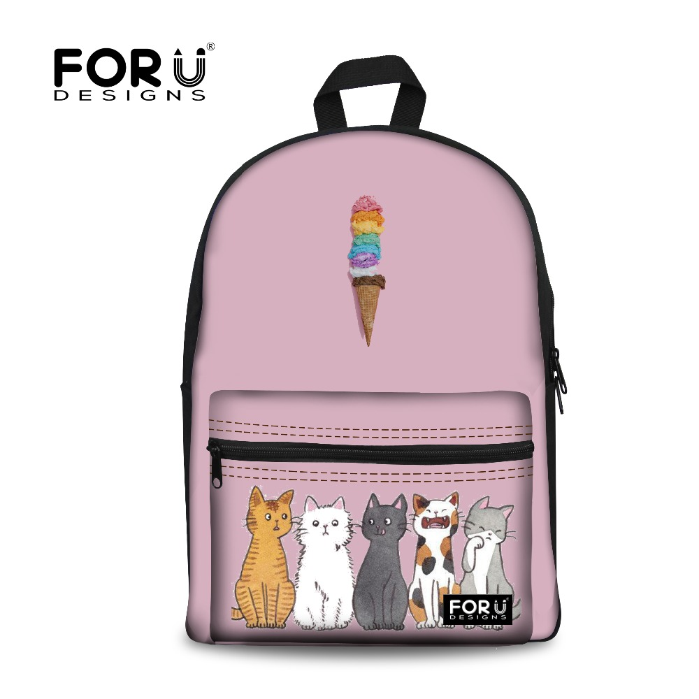 FORUDESIGNS Tumblr Ice Cream Pattern Printed School Backpack Canvas Girls Laptop Schoolbag Leisure Travel Bags for Teenage Girls forudesigns tumblr ice cream printed girls school backpack casual women canvas backpack for teenager rucksack mochila escolar