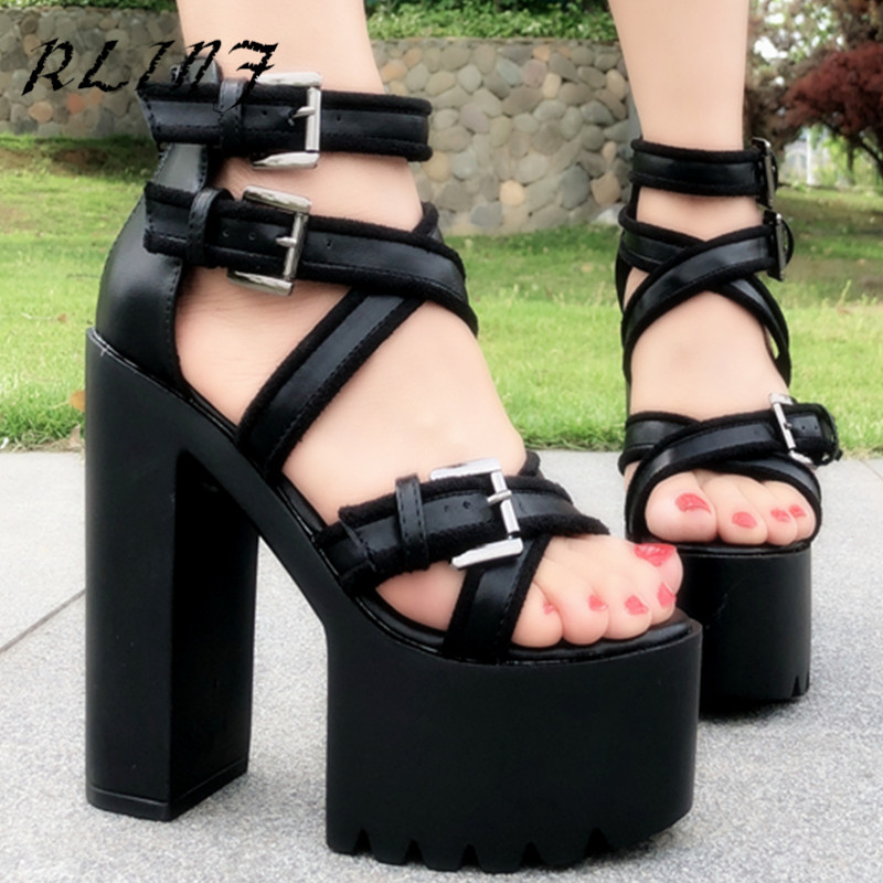 e1f2007654d Con Moda 2019 Suela Verano 15 Cm De Grueso Club Plataforma Mujer Gruesa  Zapatos Rlinf Negro Sandalias w7B0qw