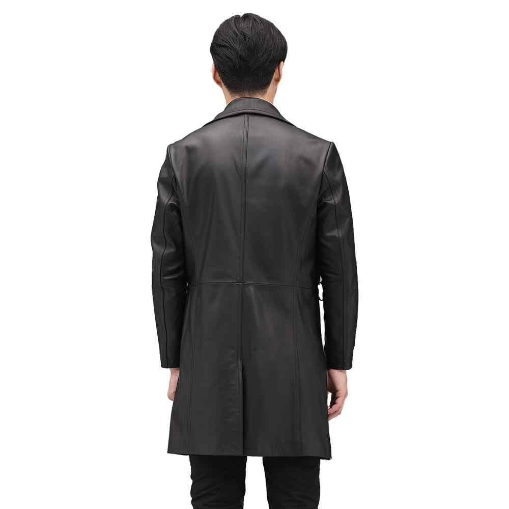 Golomise & Imbettuy Мужская X-Long Натуральная воловья кожа куртка/пальто Повседневная натуральная куртка из коровьей кожи/пальто