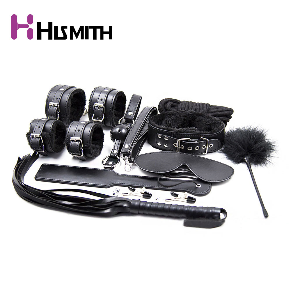 10pcs Black Sex Intimate Bondage Set Plush toy Handcuffs whip Slave Game Gag Ball Eye Mask Milk clip etc Sex Toys for Couples crown plush eye mask