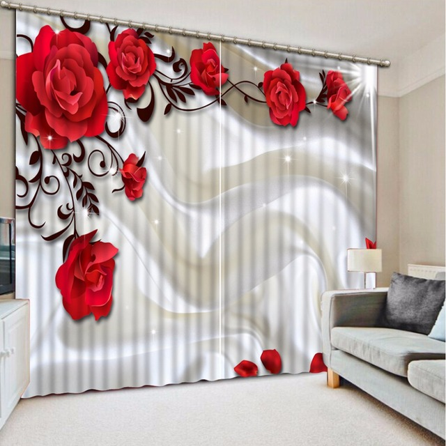 Luxurious 3D Window Curtain Sofa Rose Curtains For Living Room Bedroom  Beautiful Window Treatments Sheer Kitchen