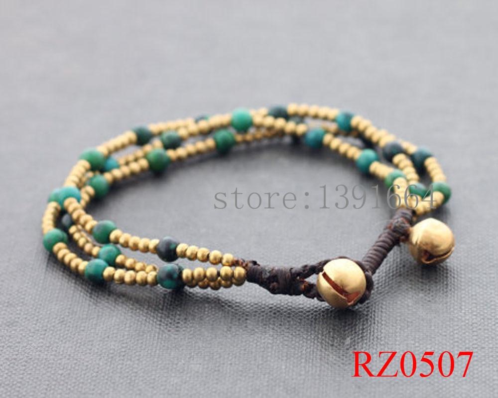 Malachite stone bead woven bracelets for women thai style brass bell bracelet handmade delicate jewelry summer style