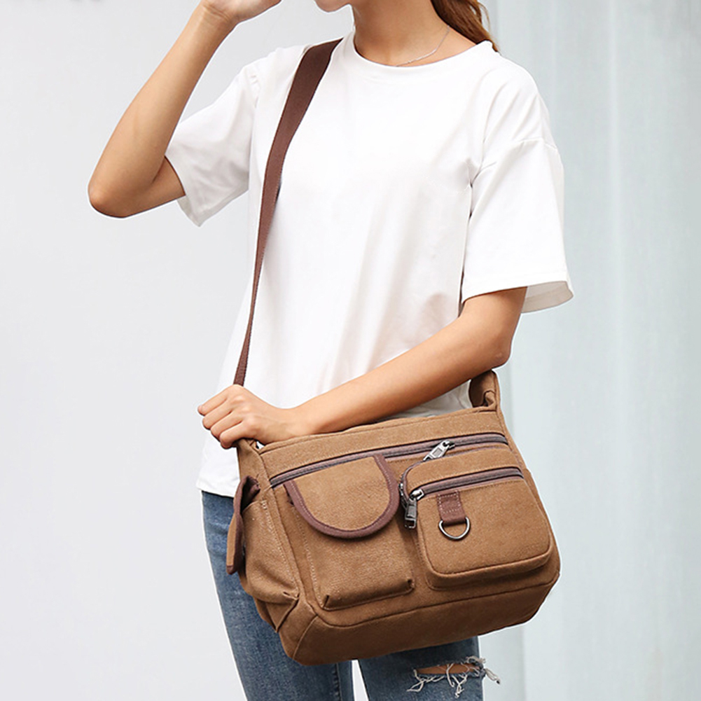 Canvas Bag Vintage Messenger Bag Small Strap Adjustable Briefcase Man Crossbody Bags Business Shoulder Bag