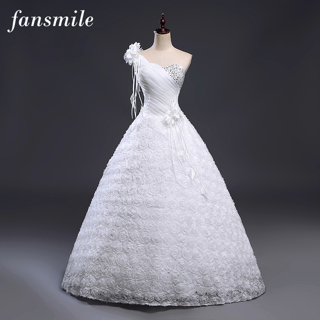 Fansmile Cheap One Shoulder Flower Wedding Dress 2018 Plus Size ...