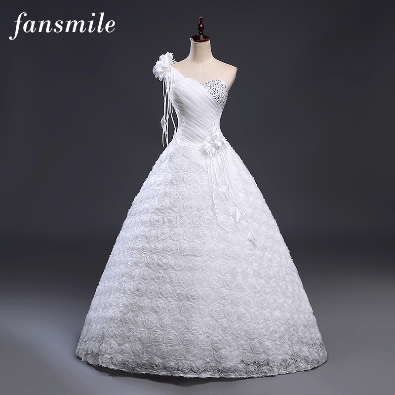 Fansmile Cheap One Shoulder Flower Wedding Dresses 2017