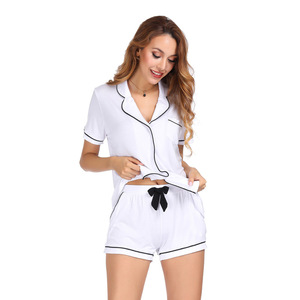 Image 2 - White Color Home Suit Set Short Sleeve With Shorts Pajamas Set Two Pcs Summer Casual Style 2019 Pijama Mujer Verano