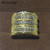 choucong New Big ring T shape Diamonique Cz Jewelry Yellow gold filled Engagement Wedding Band Rings For Women Men width 20mm