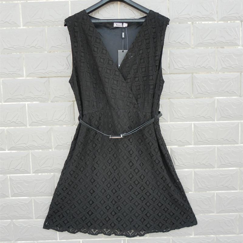Bud silk Quinquagenarian one-piece dress sleeveless slim lace skirt pullover high quality V-neck plus size