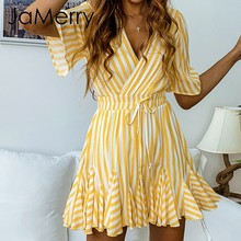 JaMerry Vintage sexy striped summer women short mini dress Ruffle casual female dresse Holiday beach fashion cute vestidos 2019(China)