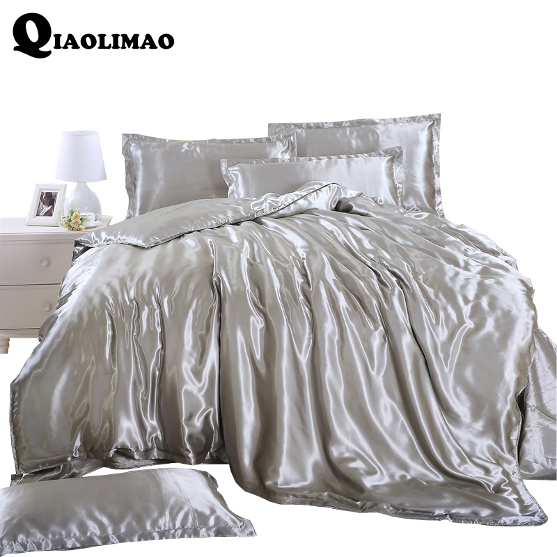 Silk Satin Bedding Set Solid Color Bed Linen Silver Grey Sheet Pillowcase Duvet Cover Set Soft