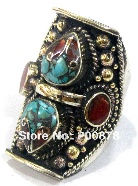R124  Tibetan brass inlaid colorful stone Ring for Man Nepal vintage jewelry