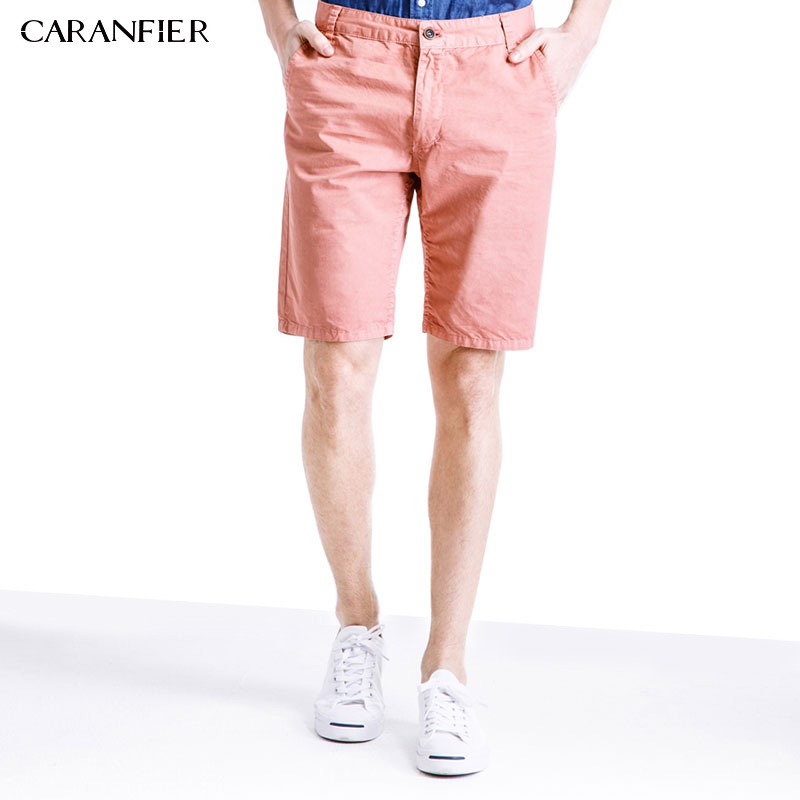 CARANFIER 2017 Summer Cargo Mens Shorts 100% Solid Cotton High Quality Solid Mens Short Mens Mid Straight Work Shorts