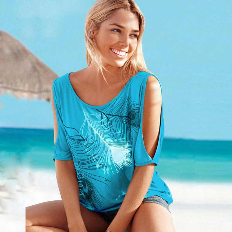 Kobiety w stylu casual, letnia T Shirt 2020 krótki rękaw w kształcie skrzydła nietoperza luźne góra zimno ramię nadruk z piór koszulka t-shirt plus size 5XL