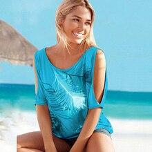 Women Casual Summer T Shirt 2019 Short Batwing Sleeve Loose Tops Cold Shoulder Feather Print Tee shirt Plus Size T-Shirt 5XL