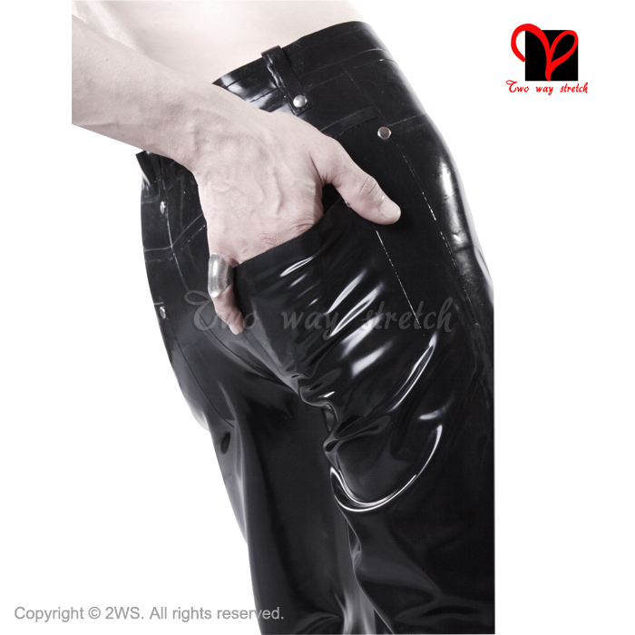 Սև լատեքս ջինսե ռետինե տաբատ Ռազմական - Կանացի հագուստ - Լուսանկար 3