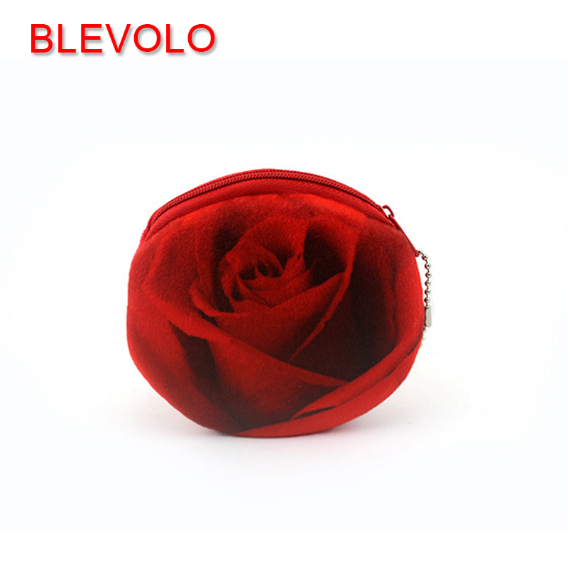 BLEVOLO 3D Rose Flower Women Girls Coin Purse Cute Plush Zipper Money Bag Pouch Bank Card Holders Coin Bags Kids Small Wallets cute cats coin purse pu leather money bags pouch for women girls mini cheap coin pocket small card holder case wallets