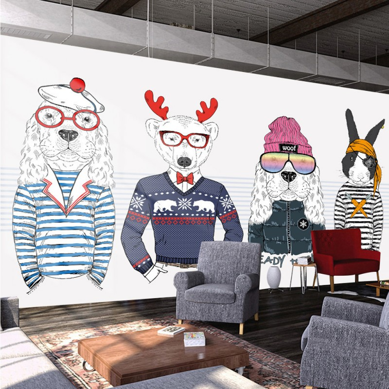 Free Shipping Personalized Hand Painted Animal Winter Clothing Store Cafe Background Wallpaper DecorationChina