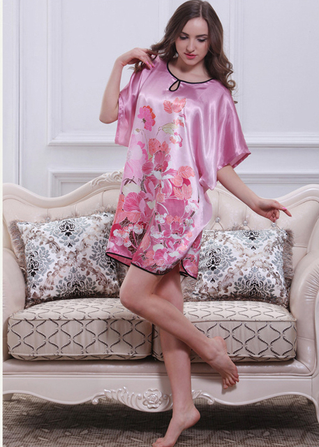 2015 Women silk satin nightgown plus size nightdress short sleeve sleepshirt floral nightwear casual sleepwear for summer