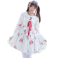 2018 Autumn dress Lolita dresses women's Harajuku cute bow Japanese Loli two yuan kawaii lolita musical instrument rabbit female