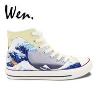 Wen Hand Painted Shoes Design Custom Japanese Painting Ukiyo E High Top Men Women S Canvas