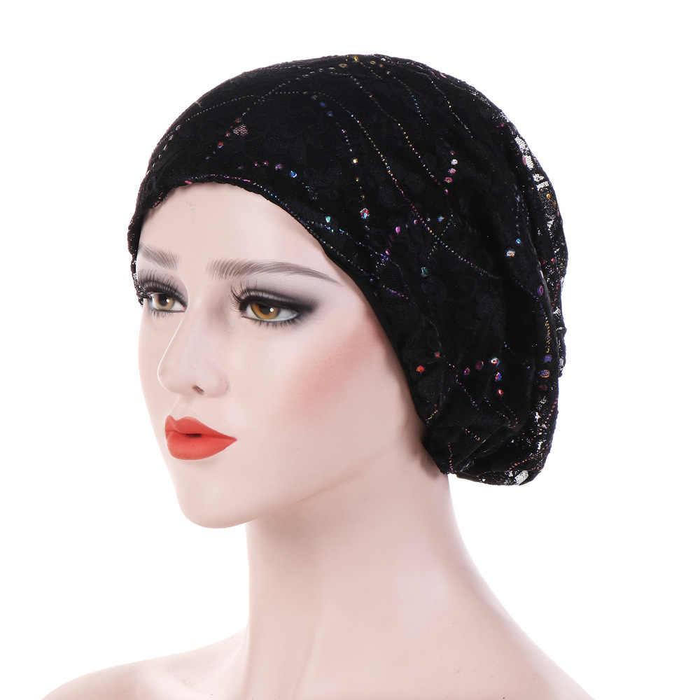 a6d5861e08f7e ... Women Fashion New Lace Scarf Caps Muslim Cap Turban Chemo Beanie Hat  Women Hair Accessories ...