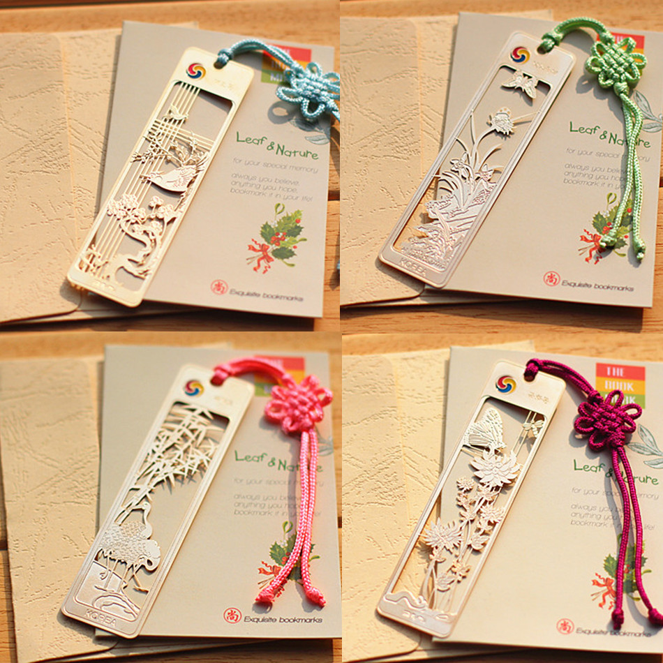 Gold Book Mark Exquisite Chinese Style Bookmark 18k Gold Plated Bookmark Gift Plum Flower Orchid Bamboo Chrysanthemum Bookmark