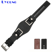 24mm watch band Genuine leather watch strap mans watchband mat handmade double head layer cowhide band high grade watchband