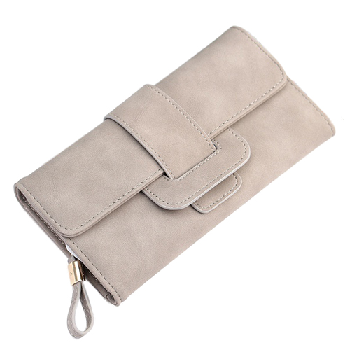 FGGS-Fashion Lady <font><b>Purse</b></font> Button Handbag PU Leather Wallet Phone Cover For Under 5.5 Inch <font><b>Smartphone</b></font> Gray