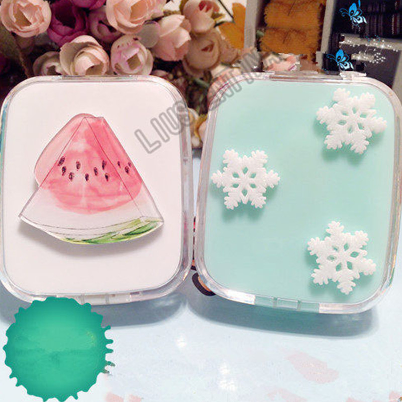 Charitable Liusventina Portable Diy Cute Snow Snowflake Watermelon Contact Lens Case With Mirror Container For Color Lenses Gift For Girls Moderate Cost Eyewear Accessories