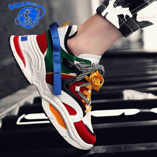 HUANQIU Sapatos Homens Sneakers Alta Qualidade 2018 homens sapatos da moda hip hop de rua sapatos casuais outono/inverno aumentou sapatos ZLL507