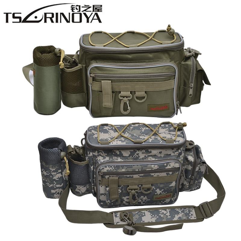 TSURINOYA Large Capacity Fishing Bag 27*10*20cm Multi-function 600D Nylon Waterproof Outdoor Waist Shoulder Bag Fishing Tackle