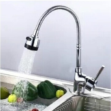 fashion High quality chrome single lever brass hot and cold 360 degree rotating gimbal pipekitchen faucet