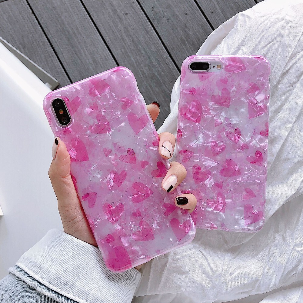 translucent case for iPhone xr 7 6Plus 6 6s 6sPlus cover 7Plus 8 8Plus X XSMAX soft TPU Shell pattern fantasy girl pink love in Fitted Cases from Cellphones Telecommunications