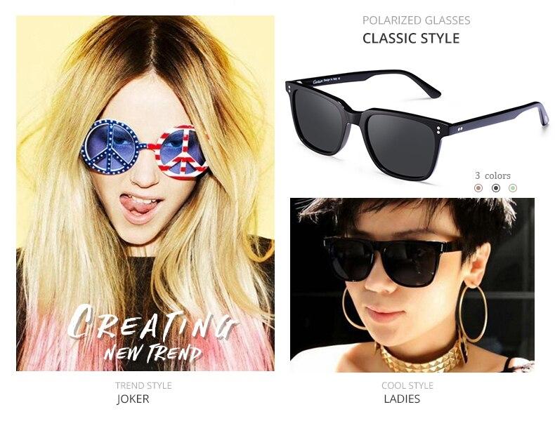 1592d9ca1 Carfia Polarizados dos homens óculos de Sol Quadrados Do Vintage ...