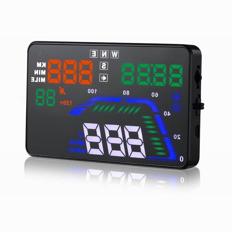 Offre spéciale indicateur de vitesse numérique coloré Q7 5.5 pouces consommation données affichage HUD OBD 2 têtes fonction GPS