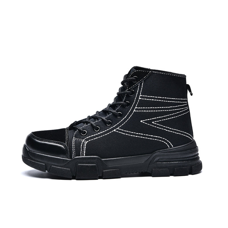 Chaishou Shoes Men Working Sneakers Lace-up Breathable Flying Mesh Anti-smashing Anti-piercing Platform Security Boots Male C142 Shoes Men's Boots