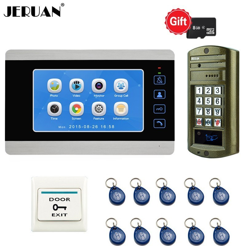 Aliexpress com : Buy JERUAN 7 Inch LCD Video Doorbell Doorphone Voice/Video  Record Intercom System kit Metal Waterproof Password RFID Access Camera