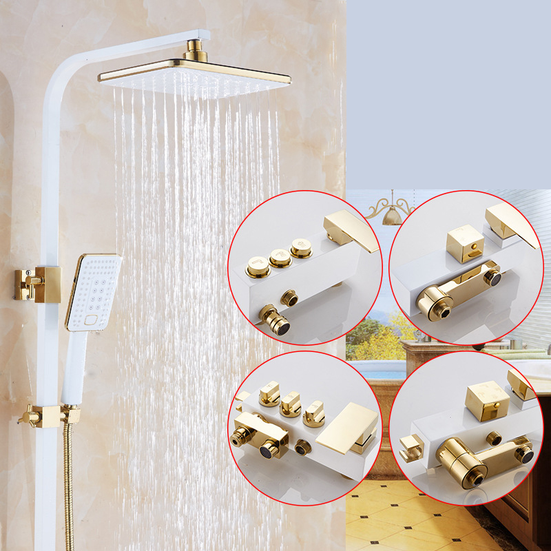 Different Styles Shower Faucet Set Bathroom White Rainfall Shower Faucet Hot And Cold Water Gold Shower Mixer