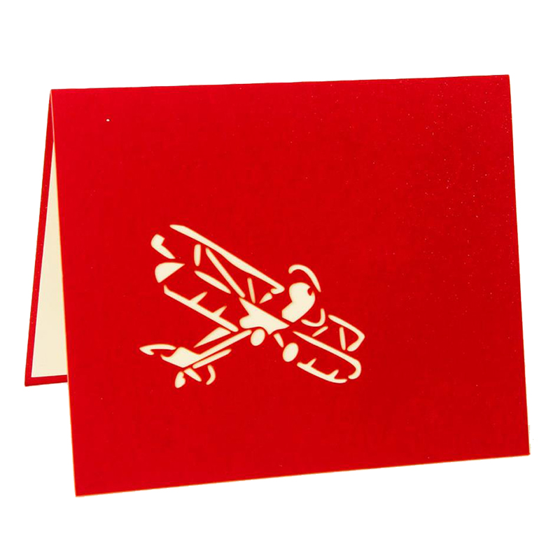 Perfect-3D laser cutting pop up holiday happy birthday card gift postcard airplane model red
