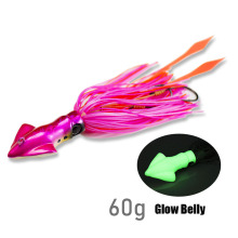 Countbass 60g 2.12oz Squid Madai Jig Lure for Fishing Salty Rubber Jigging Snapper Glow Belly Silicone Skirt