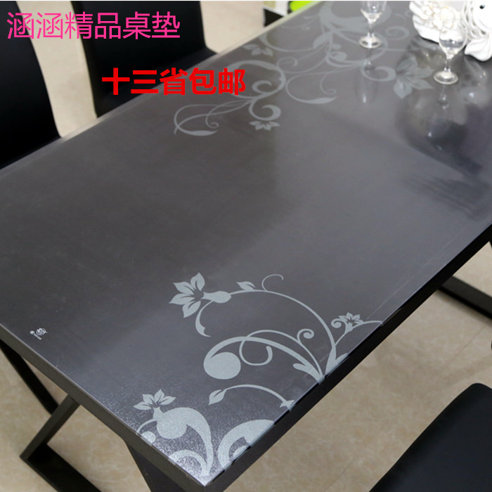 Pvc Plastic Scrub Translucent Soft Glass Waterproof Dining Table Cloth Mat Crystal Plate Customize
