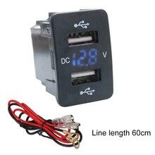 5V 4.2A For Toyota Dual USB Car Charger Fast Charging 2 USB Port Auto Adapter LED Voltmeter Socket For Honda 12-24V цены