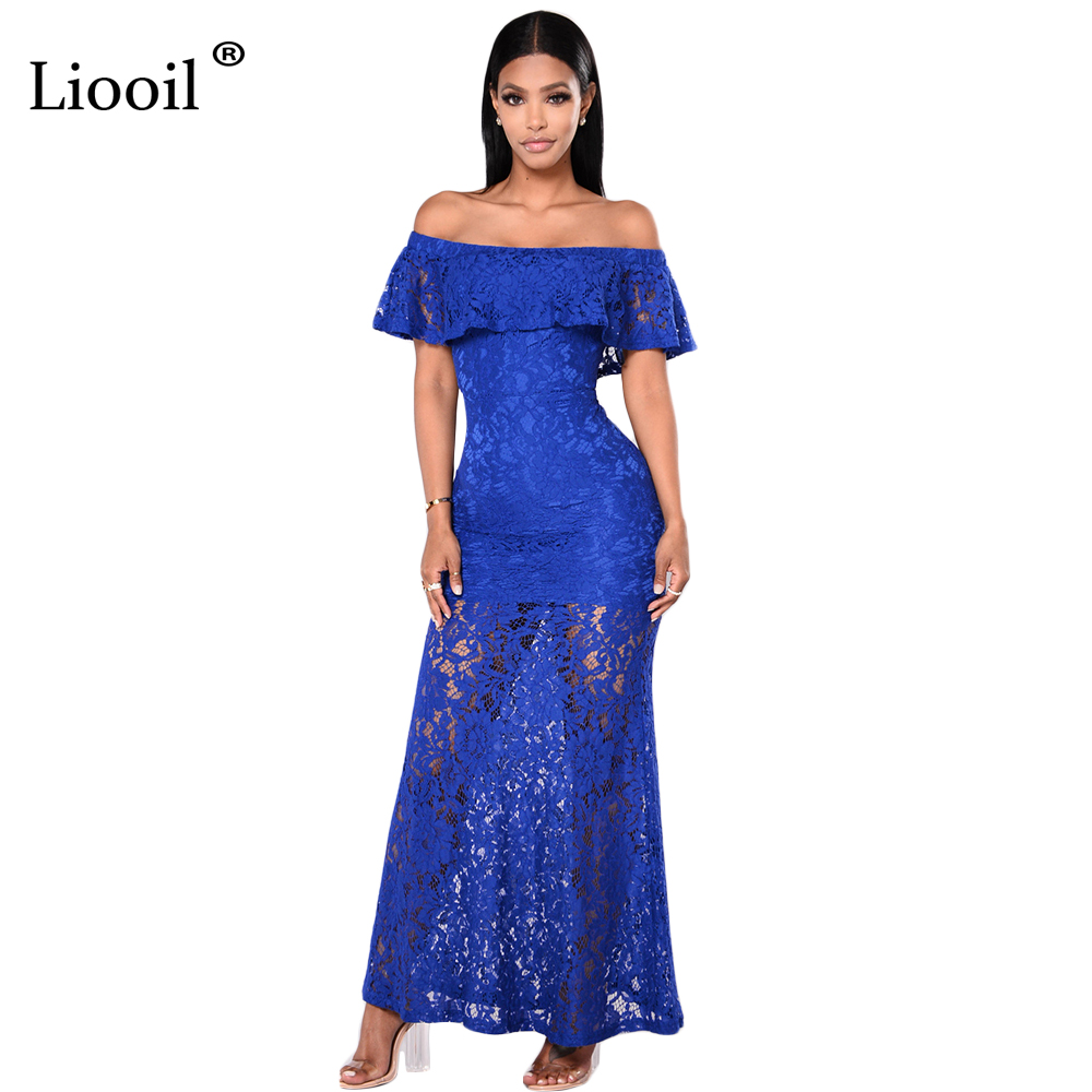 Liooil Royal Blue Lace Long Dress Ruffles Off Shoulder Backless Bodycon Maxi Dress Sexy See Through Women Elegant Party Desses