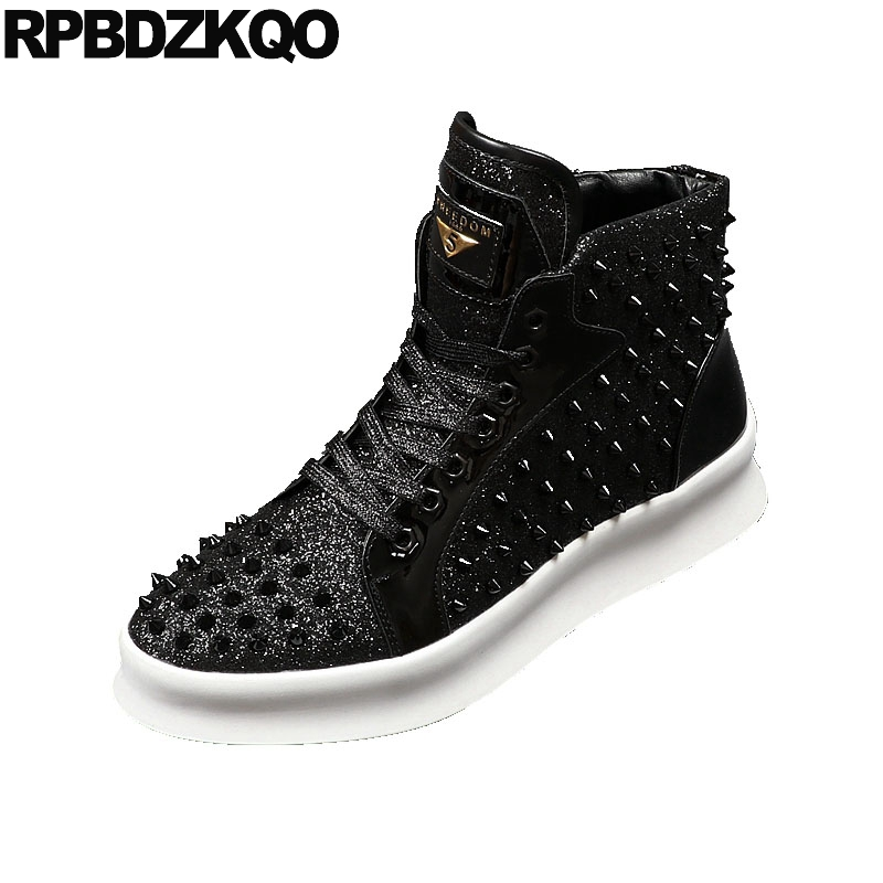 b7a1598f2615 High Top Men Trainers Hip Hop Spring Sequin Rivet Black Glitter Shoes  Sneakers Spike Brand Club Stud Elevator Skate Creepers