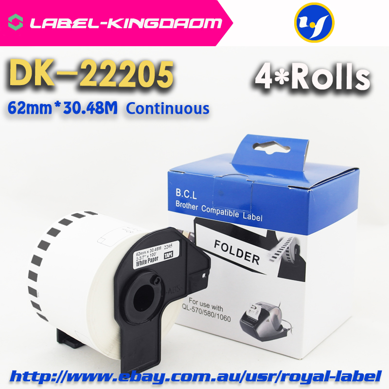4 Rolls Compatible DK 22205 Label 62mm 30 48M Continuous Compatible Brother Printer QL 570 QL