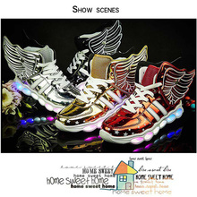 Kids Led Light Up Shoes Fashion Wings Patent Leather Boys Girls Glowing Shoes Sports Children USB Charging Luminous Sneakers kids shoes led glowing sneakers children 7 colors light up luminous sole girls boys casual shoes kids usb charging sneakers