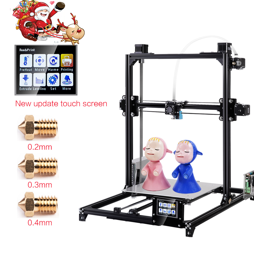 2019 Flsun 3D Printer I3 Kit Full Metal Plus Størrelse 300x300x420mm Dobbelt Ekstruder Touch Touch Auto Nivellering Printer 3D Opvarmet Bed Filament