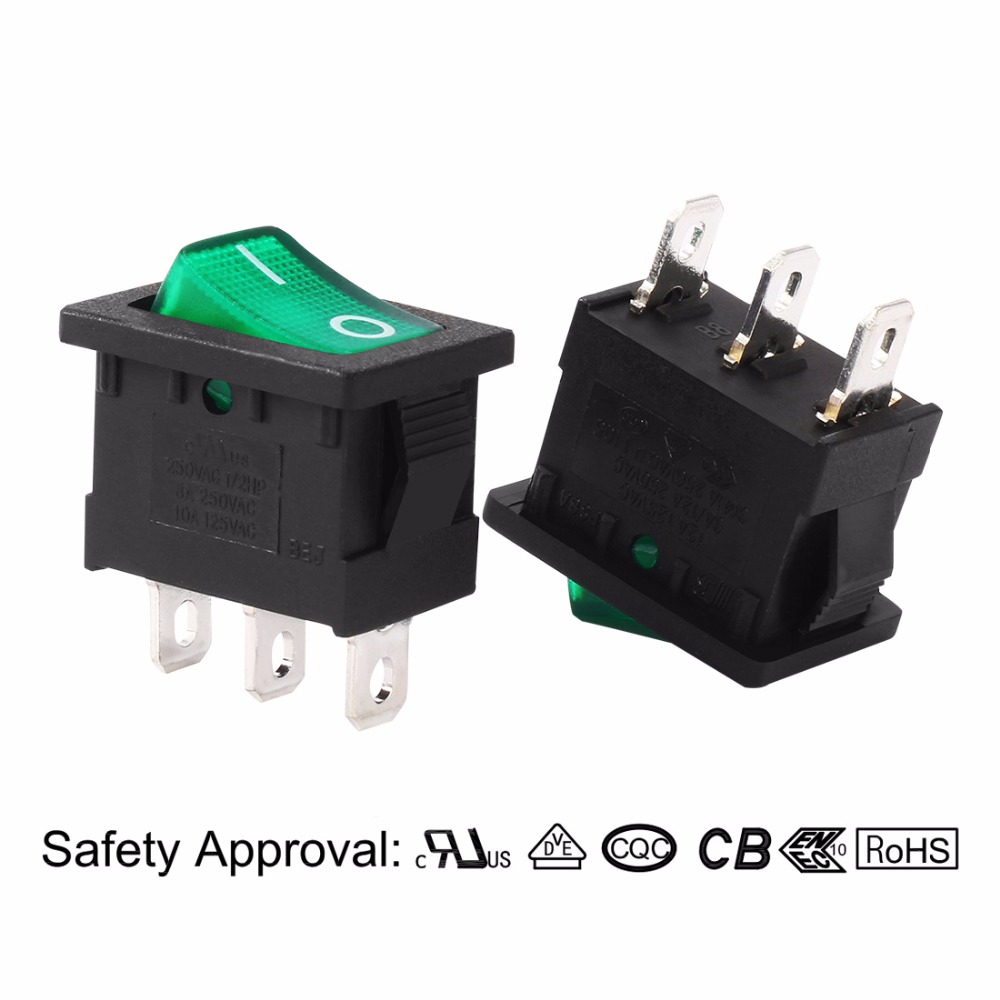 Ac 10a 125v 8a 250v Spst 3 Terminal 2 Position Green Led Light On Details About Toggle Switch Off With Wire Leads Images Rocker Momentary Fit 20 X 12mm Mounting In Switches From Lights