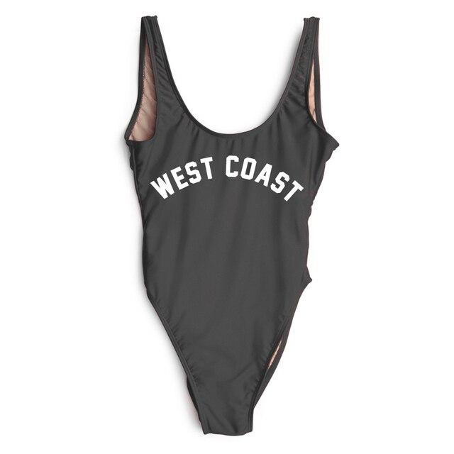 e454357b97 West Coast Letter Print One Piece Swimsuit Women Swimwear High Cut Bathing  Suit Black White Monokini Beachwear Sexy Bodysuit Red